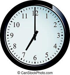 klocka, 7, vägg, sätta, o'clock