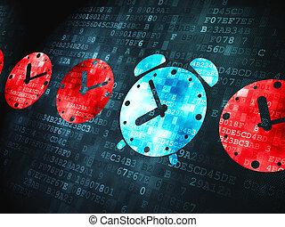klocka, alarm, digital fond, tid, concept: