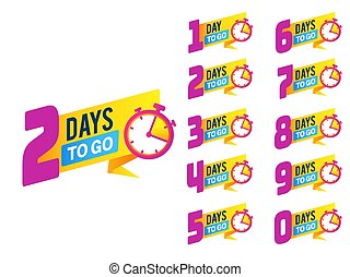 klocka, försäljning, furu, produkt, begränsad, vänster, dagar, stickers., vektor, numrera, tidmätare, promo, erbjudande, stor, sätta, badges., baner, nedräkning, go.