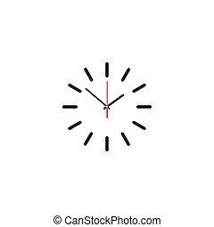 klocka, illustration, ansikte, bakgrund., vektor, skugga, vit