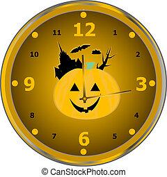 klocka, isolerat, vektor, tid, parti, fira