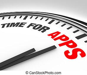 klocka, mobil, apps, applikationer, program, tid, behov