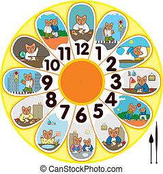 klocka, skolbarn, katt