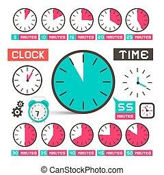klocka, -, tid, vektor, ikonen, sätta, isolerat, vita,...