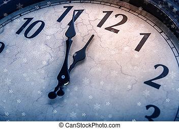 klocka, twelve., fem, retro, minuter, för