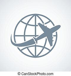 klode, flyvemaskine, rejse, ikon