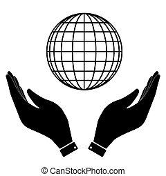 klode, ikon, hånd