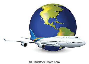klode jord, flyvemaskine