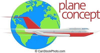 klode, rejse, begreb, flyvemaskine