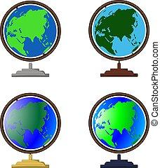 klode, sæt, world., decor, animation, kloder, props, vektor, deckstop, stand., cartoon, iconerne