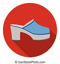 Klogs icon in flat style isolated on white background. Shoes symbol stock vector illustration.