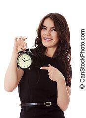 klok, businesswoman, waarschuwing, jonge, vasthouden, vrolijke