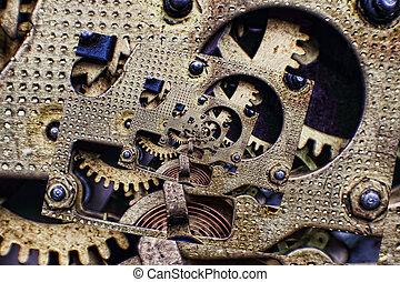 klok, collage, mechanisme, taken, tandwielen, brons, closeup.