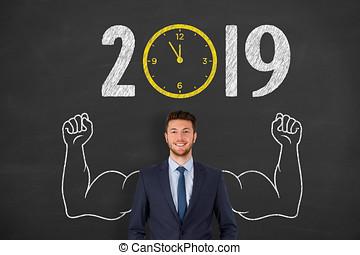 klok, concepten, aftellen, 2019, chalkboard, jaar, nieuw