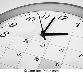 klok gezicht, en, calendar., timemanagement, concept.