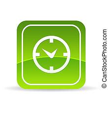klok, groene, pictogram