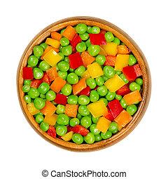 klok, groentes, gedobbelde, groene, houten kom, pepers, erwtjes, gemengd