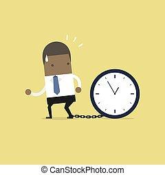klok, groot, concept., afrikaan, geketeende, tijd, zakenman, krijgt