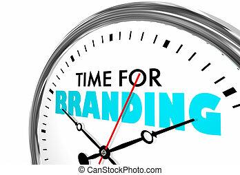 klok, het brandmerken, tijd, illustratie, woorden, marketing, identiteit, 3d