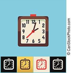 klok, icon., plat, vector, illustratie, op, gekleurde, backgrounds., bruine , plein, analoge klok