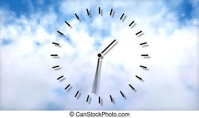 klok in, motion., het overgaan van tijd, concept