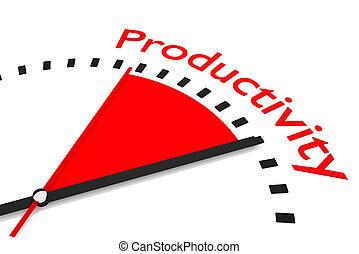 klok, met, rood, secondes hand, gebied, productiviteit,...