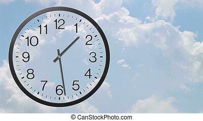 klok, met, wolken, de tijdspanne van de tijd, 02