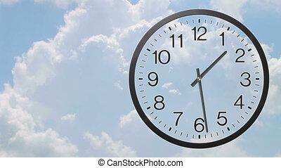 klok, met, wolken, de tijdspanne van de tijd, 03