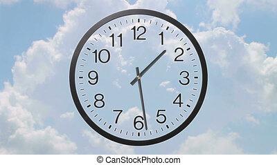 klok, met, wolken, de tijdspanne van de tijd