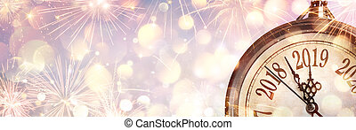 klok, middernacht, vuurwerk, -, 2019, jaar, nieuw