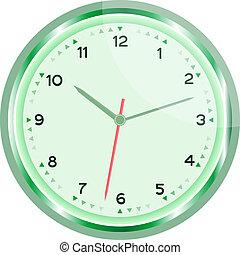 klok, muur, vector, groene, ouderwetse