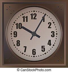 klok, muur, vrijstaand, achtergrond., vector, witte