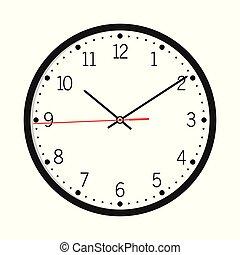 klok, muur, vrijstaand, vector, achtergrond, witte