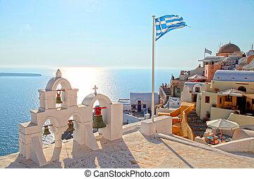 klok, oia, griekse vlag, dorp, griekenland, toren, santorini