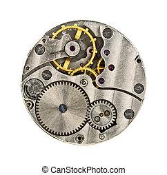klok, op, mechanisme, vrijstaand, achtergrond, toestellen, afsluiten, witte