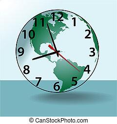 klok, reizen, aarde, tijd, wereldbol