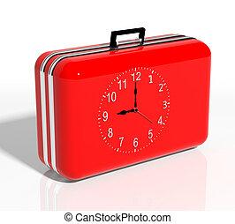 klok, reizen, vakantie, time., koffer, rood