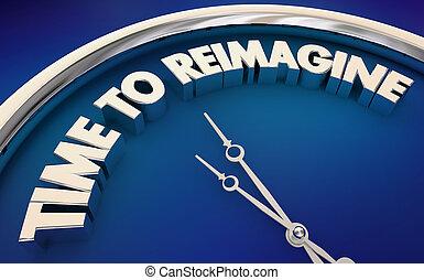 klok, rethink, ideeën, illustratie, tijd, reimagine, nieuw, herstarten, 3d