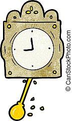 klok, spotprent, slinger, ticking