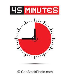 klok, -, stoppen, veertig, illustratie, horloge, vector, vijf, notulen