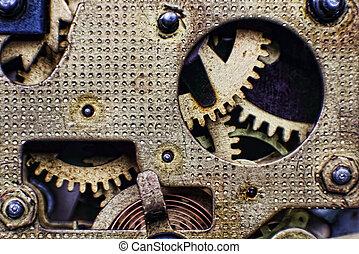klok, tandwielen, mechanisme, achtergrond., closeup, taken, technologie, brons