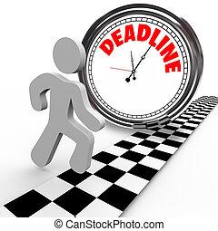 klok, tegen, aftellen, deadline, tijd, het snelen