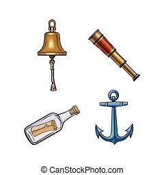 klok, telescoop, scheeps , fles, boodschap, tv nieuws