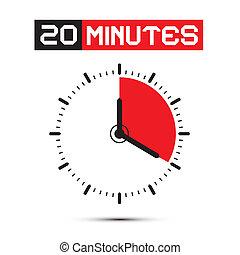 klok, twintig, -, stoppen, illustratie, horloge, vector, notulen