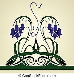 klok, viooltje, abstract, bloemen, vector, achtergrond.