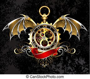 klok, vleugels, draak