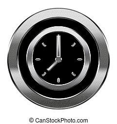 klok, vrijstaand, achtergrond., zilver, witte , pictogram