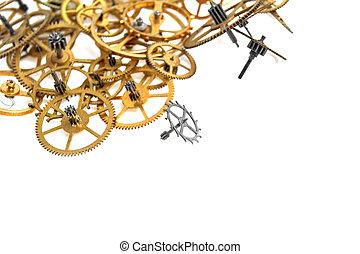 klok, vrijstaand, mechanisme, toestellen, achtergrond, witte
