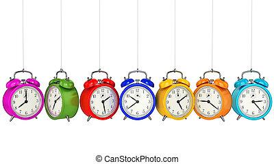 klok, waarschuwing, 3d., tijd, concept.
