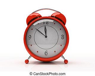 klok, waarschuwing, vrijstaand, achtergrond, wit rood, 3d